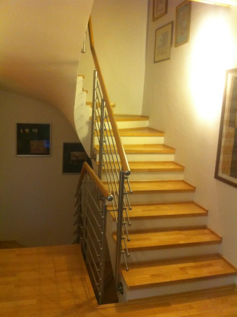 Edelstahl Treppengeländer mit elegantem Holzhandlauf 2