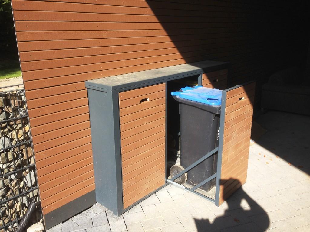 Müllboxen aus pulverbeschichtetem Stahl mit beidseitigem Zugang 2